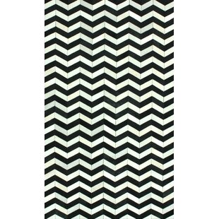 Best Favermann Patchwork Hand-Woven Cowhide Black/White Area Rug By Orren Ellis