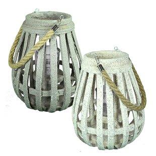 Breakwater Bay Wood Lantern (Set of 2)