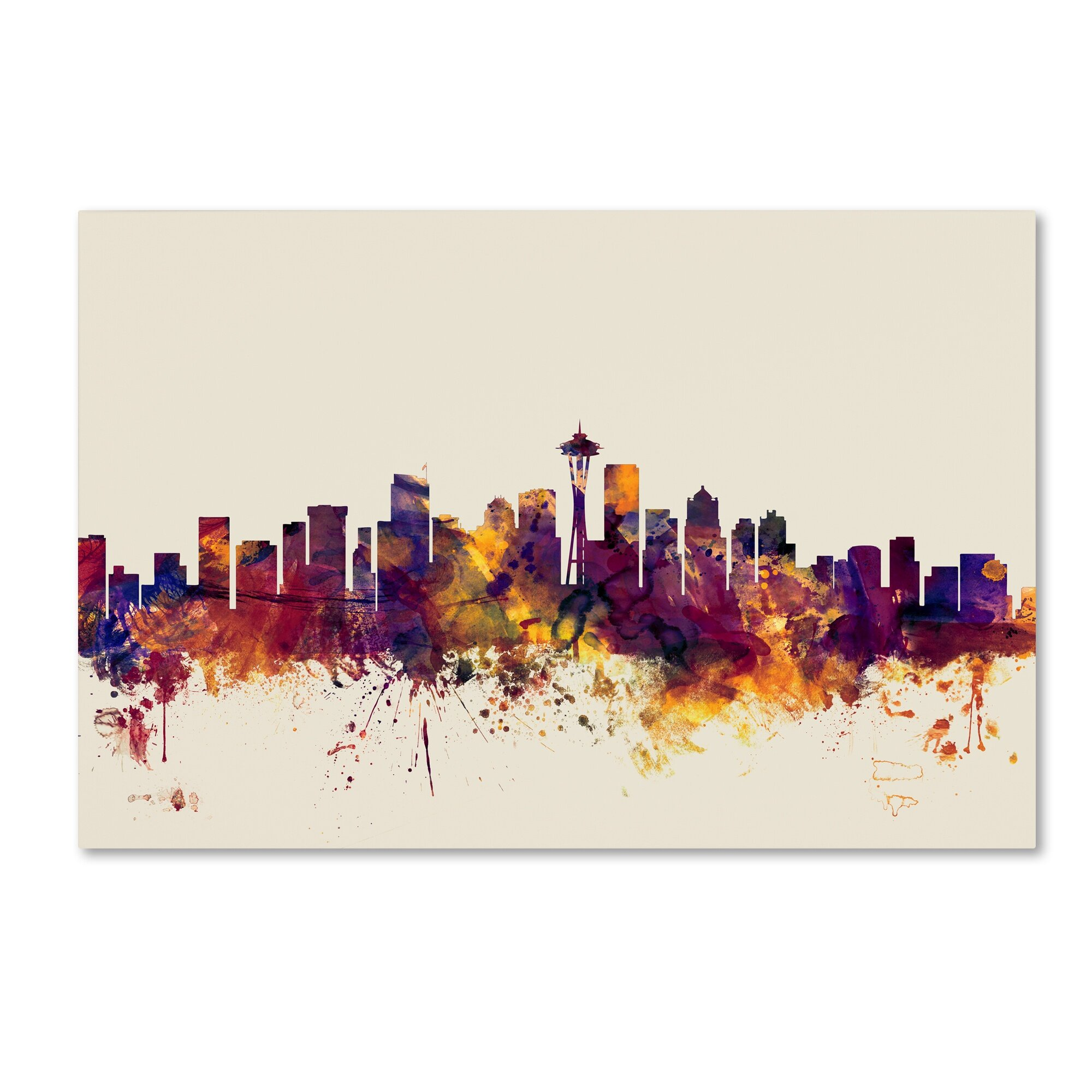 Trademark Art Seattle Washington Skyline Graphic Art On Wrapped Canvas Reviews Wayfair