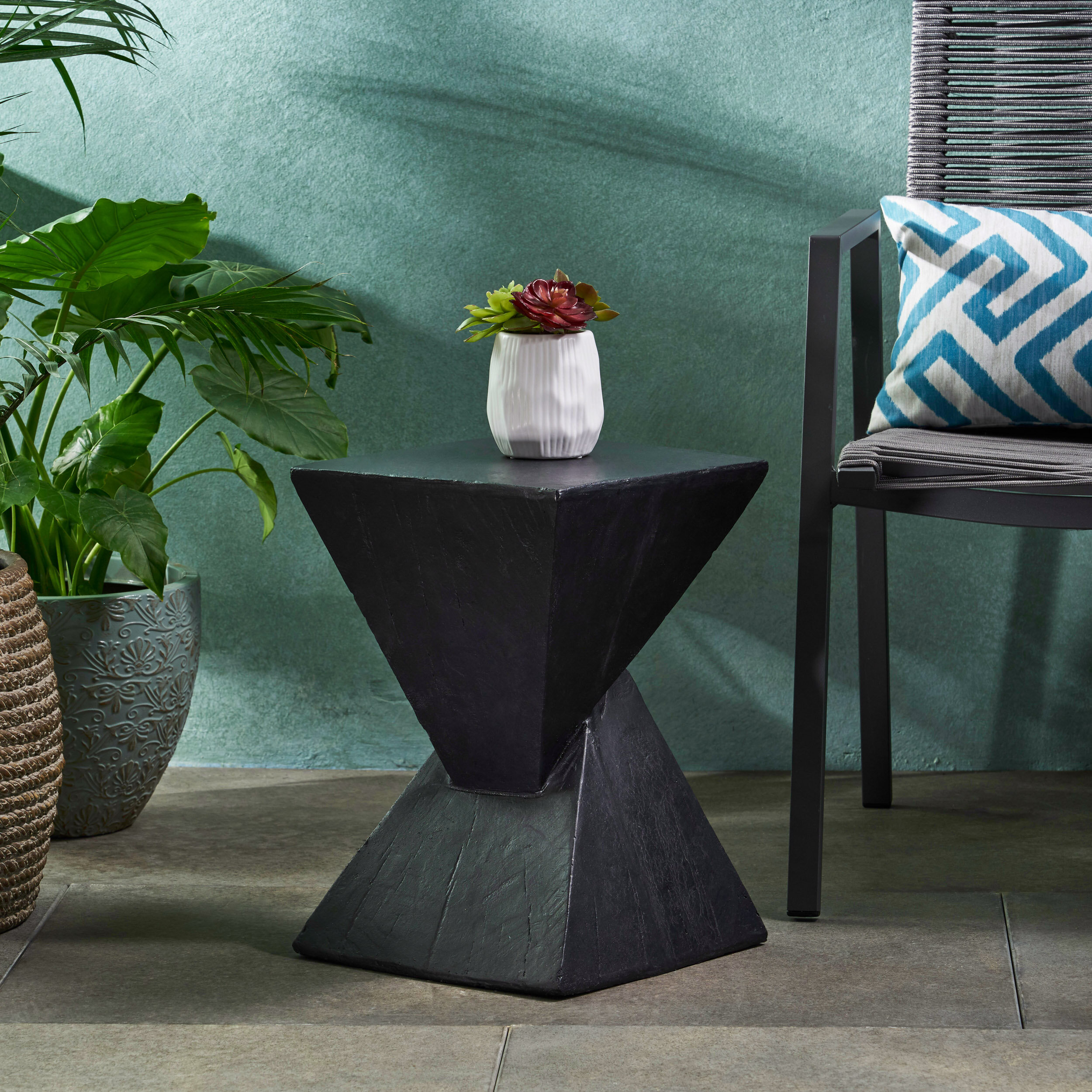 - Wrought Studio Hurley Outdoor Light-Weight Concrete Accent Table