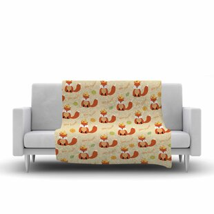 Best Choices Cristina Bianco Design Fox New Friends Pattern Illustration Fleece Blanket By East Urban Home