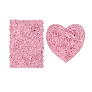 Loganne Heart 2 Piece Bath Rug Set