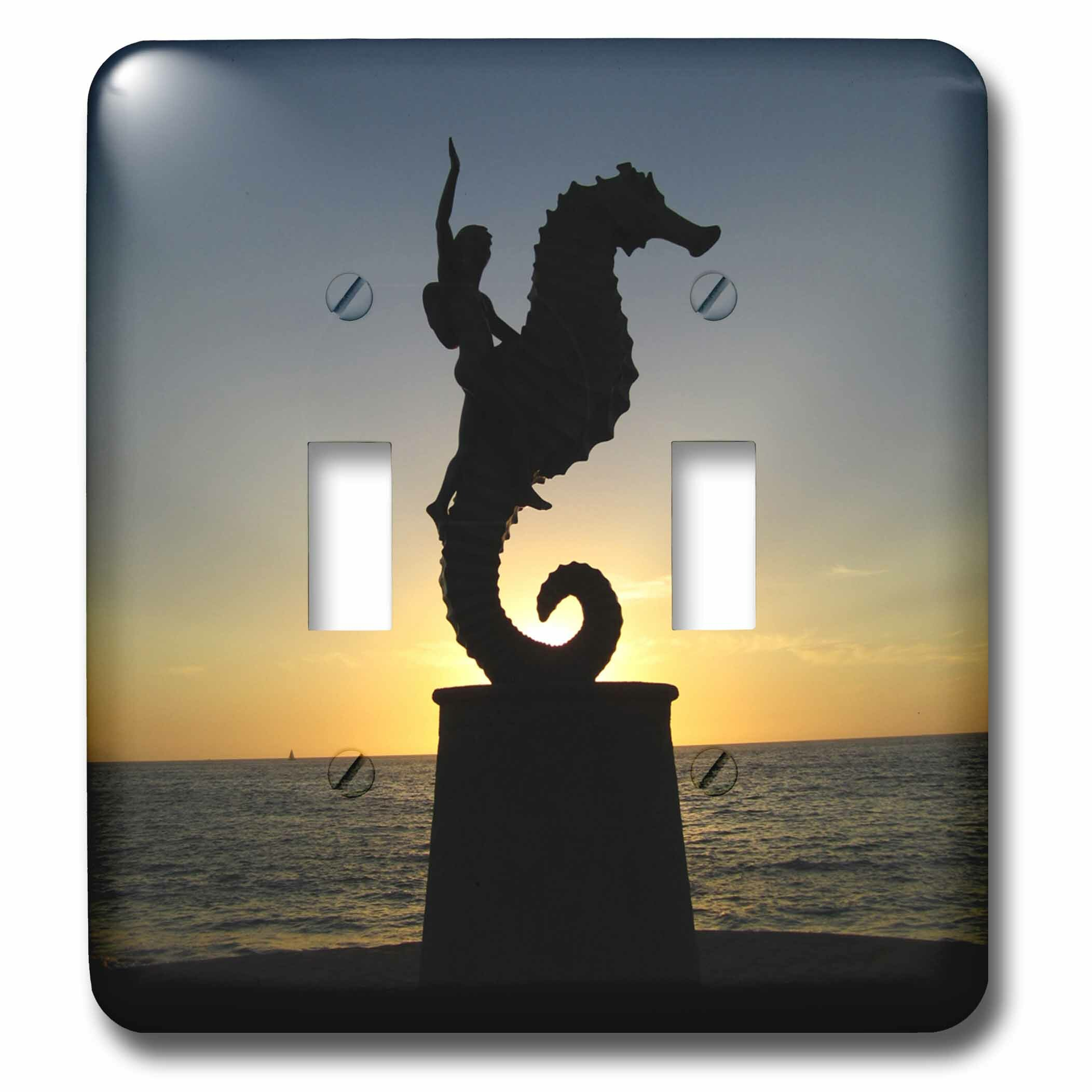 3drose Puerto Vallarta Malecon Boy On Seahorse Statue Silhouetted Against Sunset 2 Gang Toggle Light Switch Wall Plate Wayfair