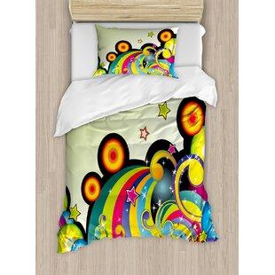 Colorful Mix of Fantasy Design Elements Circles Dots Swirls Stars Joyful Fun Graphic Art Duvet Set by East Urban Home