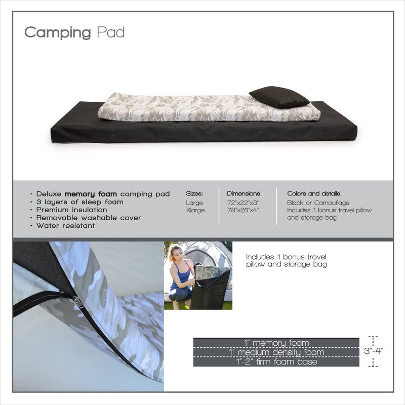 roll n go memory foam orthopedic sleeping camping pad with pillow integrity bedding roll n go memory foam orthopedic sleeping      rh   wayfair