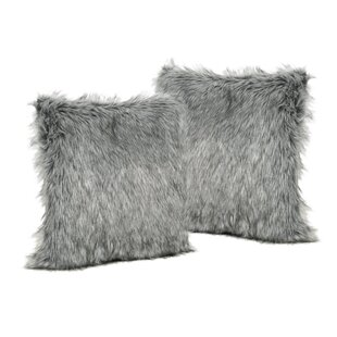 Hamblen Furry Faux Fur Throw Pillow (Set of 2)