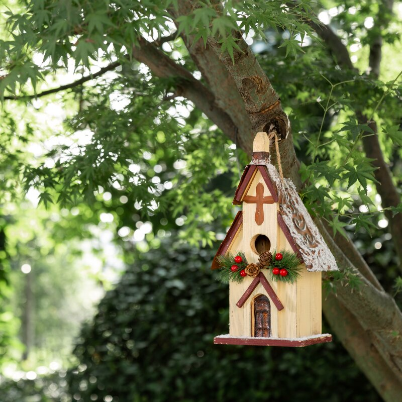 The Holiday Aisle Boulemane Church Christmas 13 In X 7 In X 6 In Birdhouse Reviews Wayfair