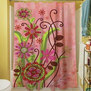 Flower Power Stems Single Shower Curtain