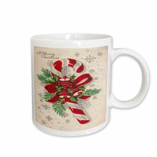 A Vintage Merry Christmas Candy Cane Coffee Mug