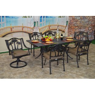 Bayou Breeze Maccharles 7 Piece Dining Set with Cushions