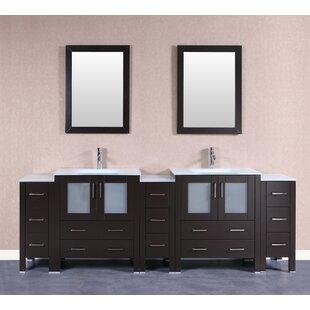 Adrian 96 Double Bathroom Vanity Set with Mirror by Bosconi