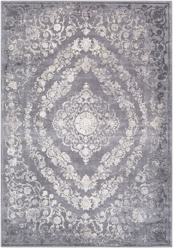 Charlton Home Thissell Vintage Persian Medallion Gray Area
