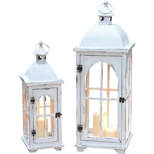 August Grove 2 Piece Wood and Metal Lantern Set