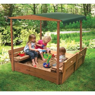 Deluxe Covered Convertible Cedar 4u0027 Rectangular Sandbox With Two Bench Seats