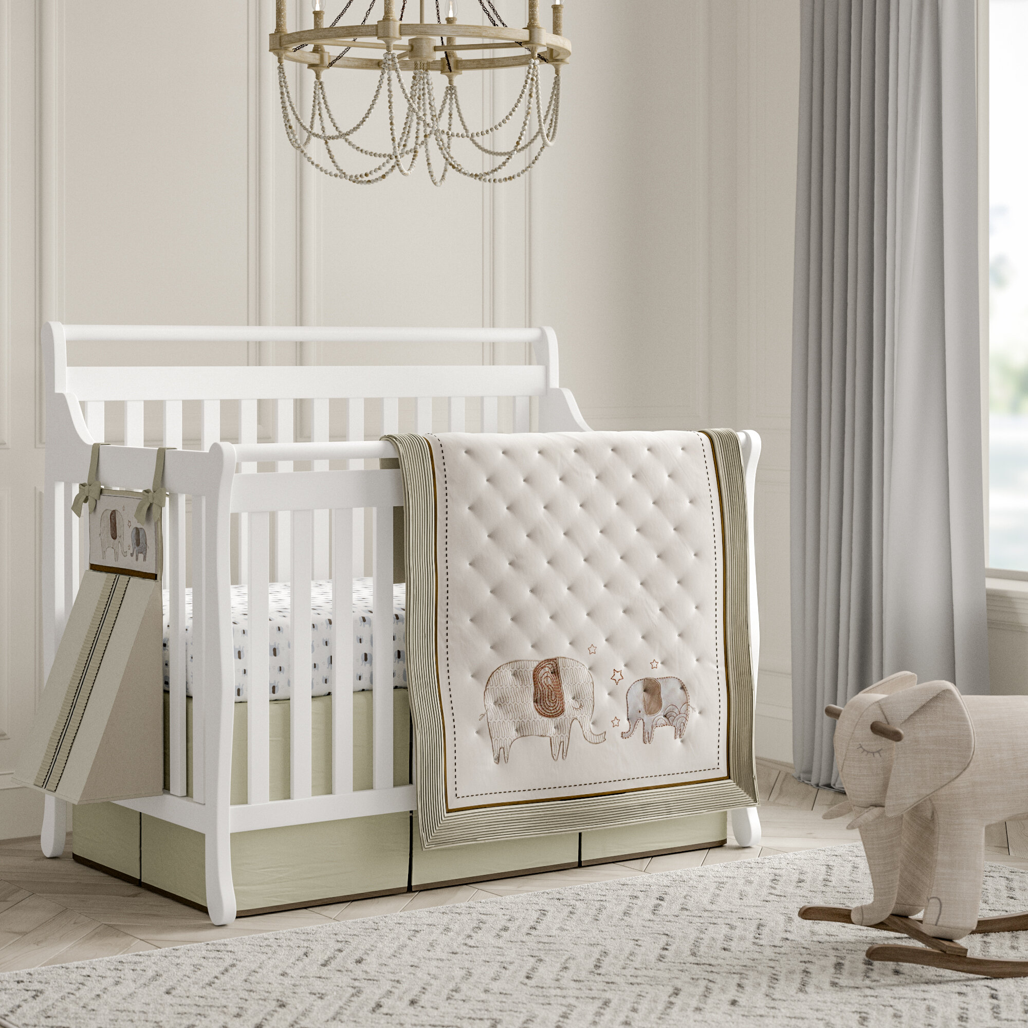 Arcola Elephant Baby Walk 27 Piece Crib Bedding Set