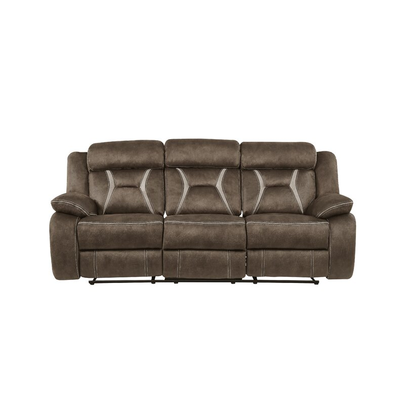 Mateas Stitched Fabric Reclining Sofa