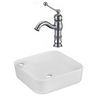Read Reviews Ceramic Square Vessel Bathroom Sink with Faucet By American Imaginations