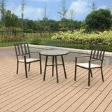 Addileigh Steel 3 Piece Bistro Set  with Cushions