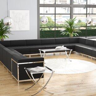 Orren Ellis Bouffard Leather Modular Sectional
