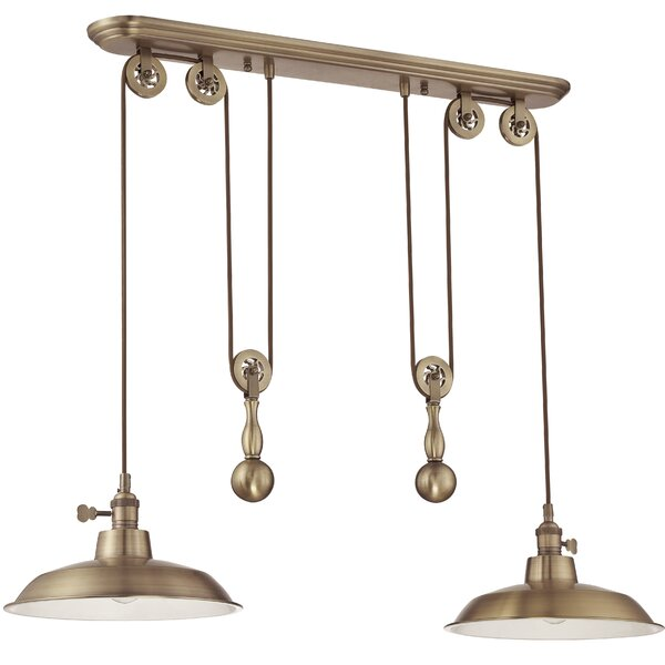 Ariel 2-Light Kitchen Island Pendant, Ariel Collection Aged bronze shade (included) Medium base, 100 watt bulbs (not included) Comes with lead wire The wiring is adjustable Diffuse: No Hardwired into one outlet CSA Certified: Yes