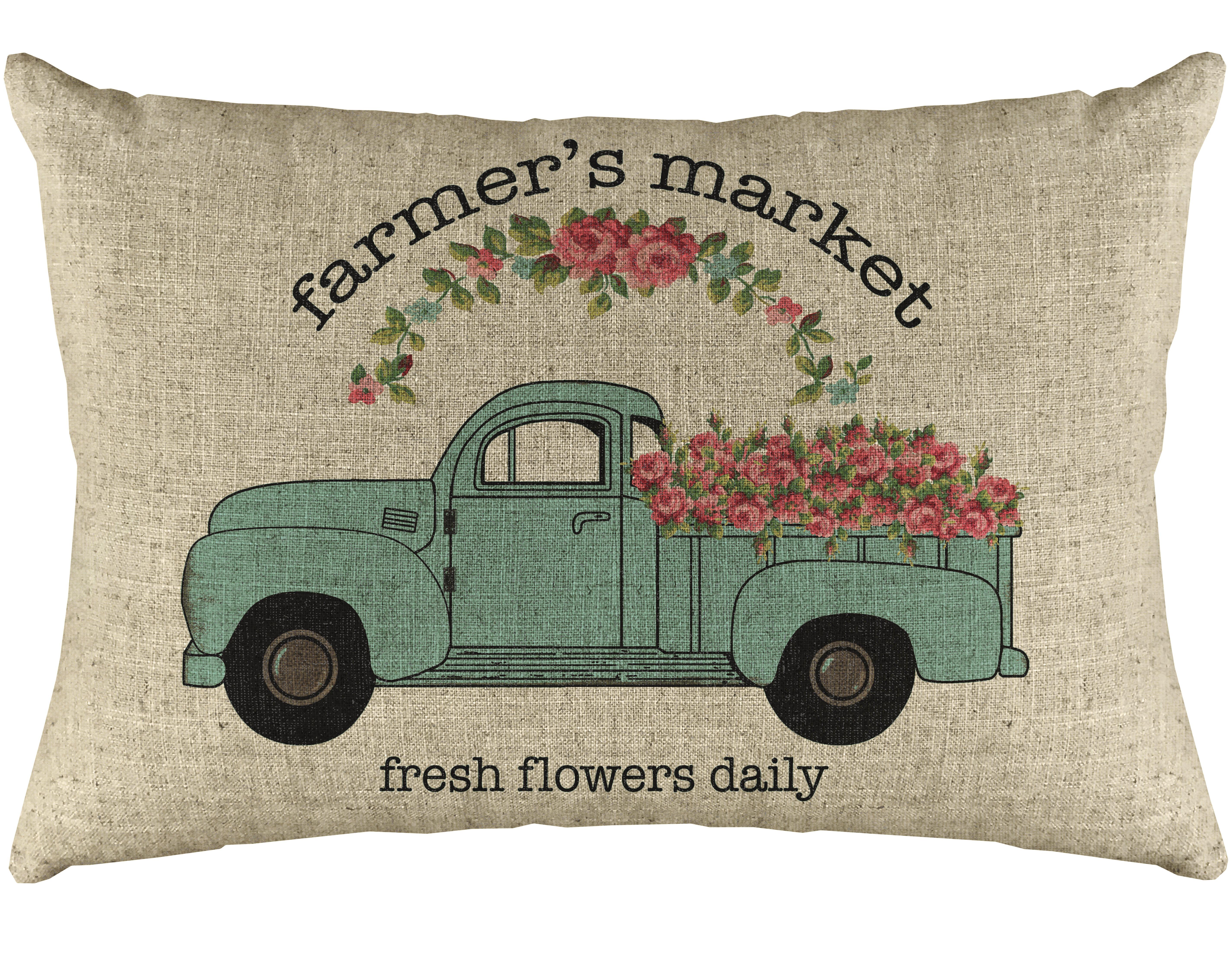 Ophelia Co Roan Farmer S Market Truck Linen Lumbar Pillow Reviews Wayfair