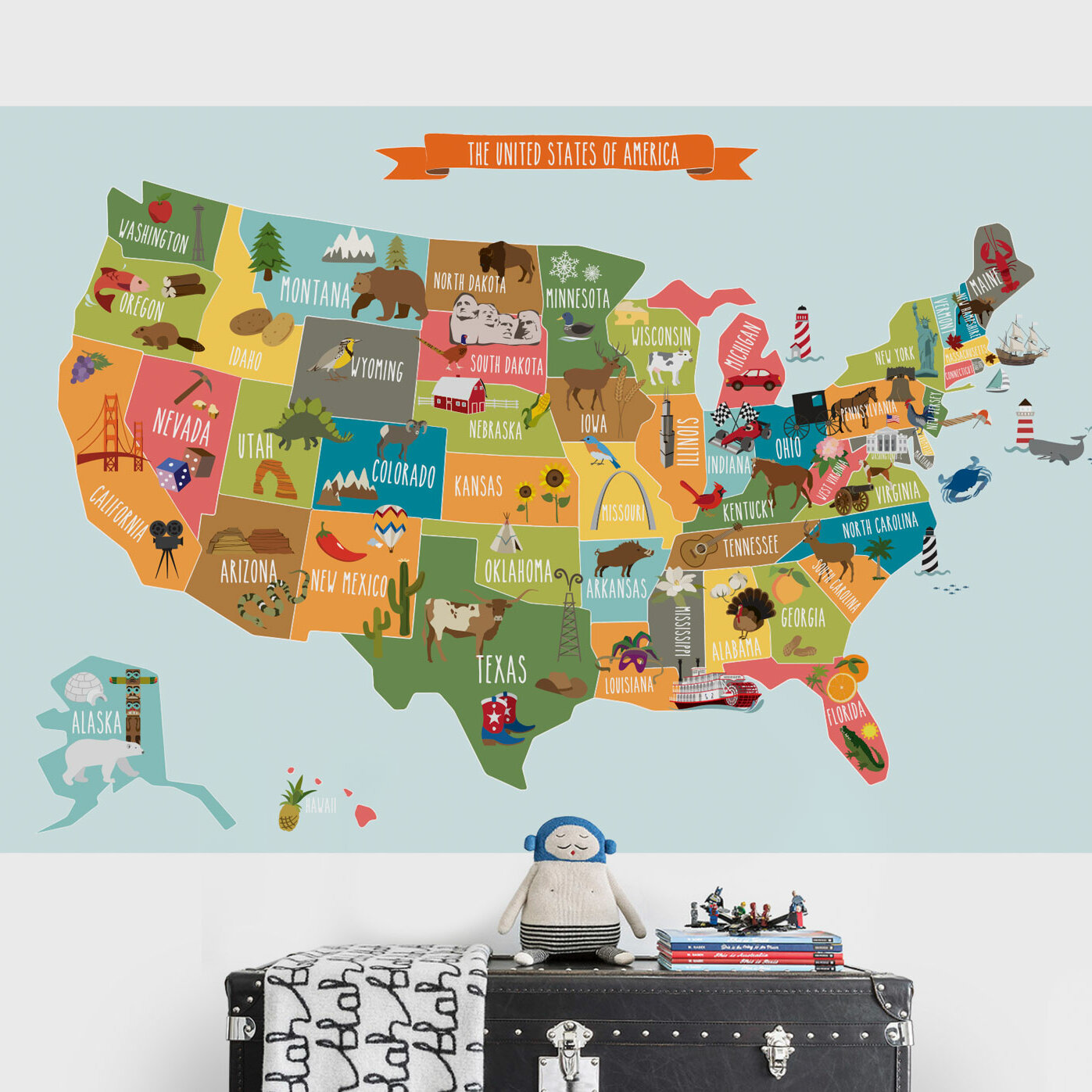 Us Map Wall Decal SimpleShapes USA Map Poster Wall Decal | Wayfair