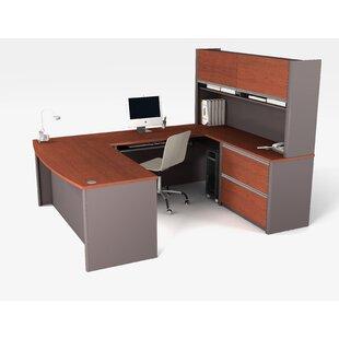 Latitude Run Karla U-Shape Executive Desk with Hutch