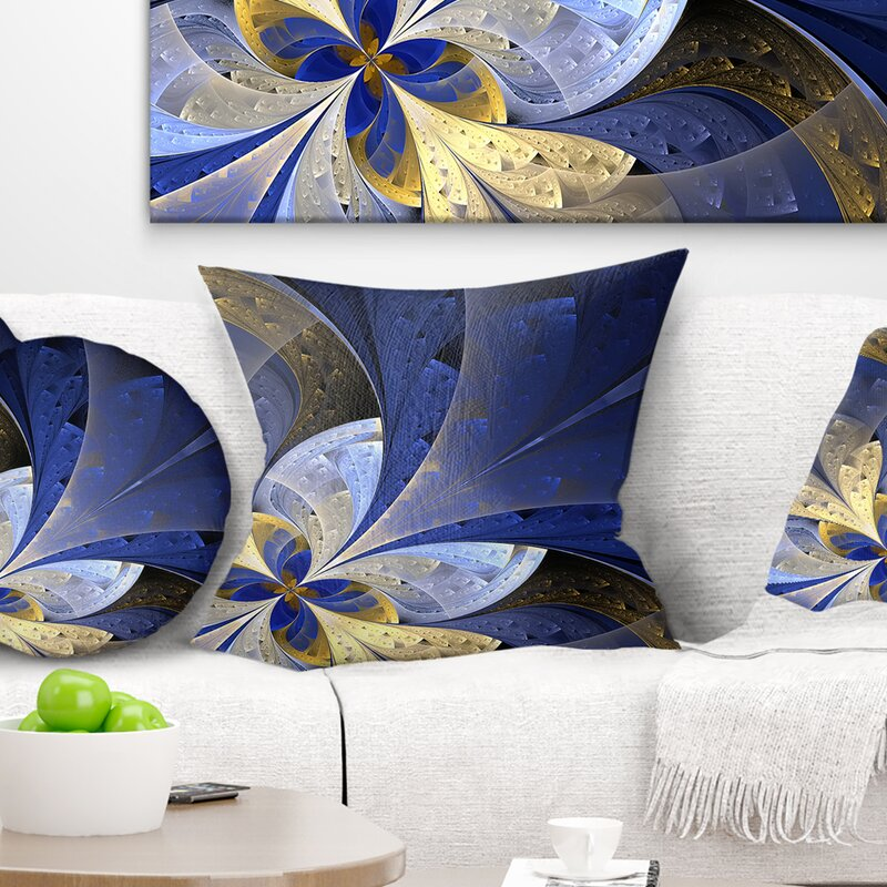 East Urban Home Floral Large Fractal Pattern Pillow Wayfair