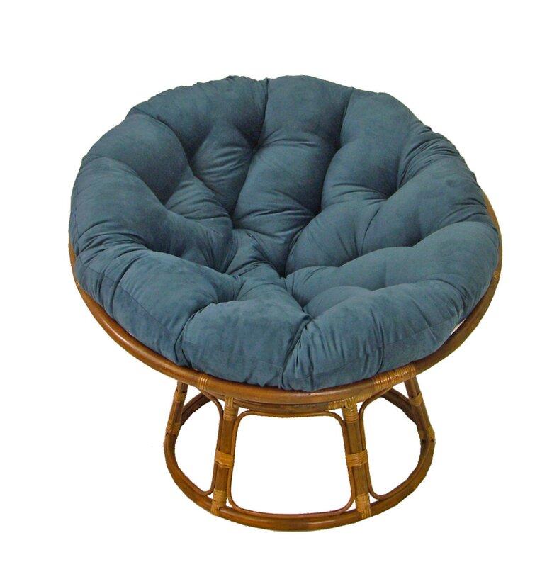 Decker Rattan Papasan Chair With Cushion