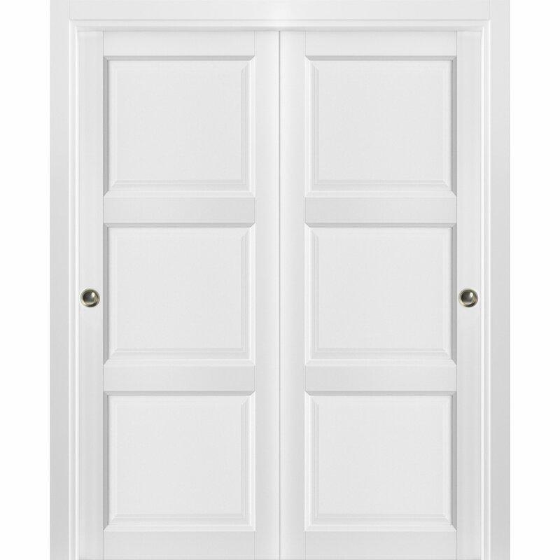 Sartodoors Sliding Closet Bypass Doors 60 X 80 Inches Lucia 2661 Matte White Sturdy Top Mount Rails Mouldings Trims Hardware Set Wood Solid Bedroom Wardrobe Doors Wayfair Ca