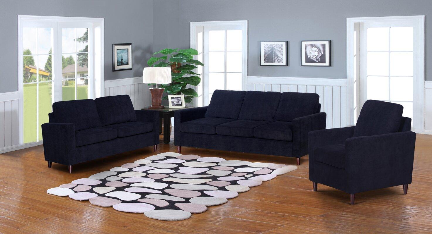 Wrought Studio Anglin Solid Raisin Fabric Modern 3 Piece Living Room ...