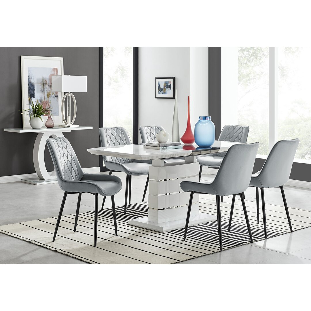 Renato 120Cm High Gloss Extending Dining Table And 6 Grey Eu