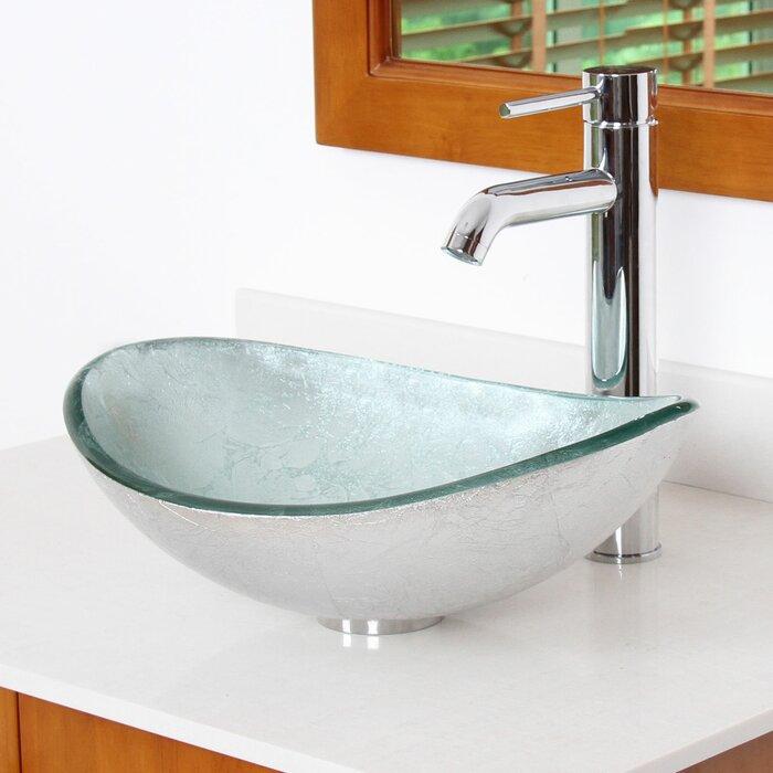 Hand Painted Gl Oval Vessel Bathroom Sink