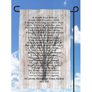 A Limb Has Fallen FamilyTree Personalized Sympathy Polyester 1'6 X 1 Ft. Garden Flag By Heartland Signs