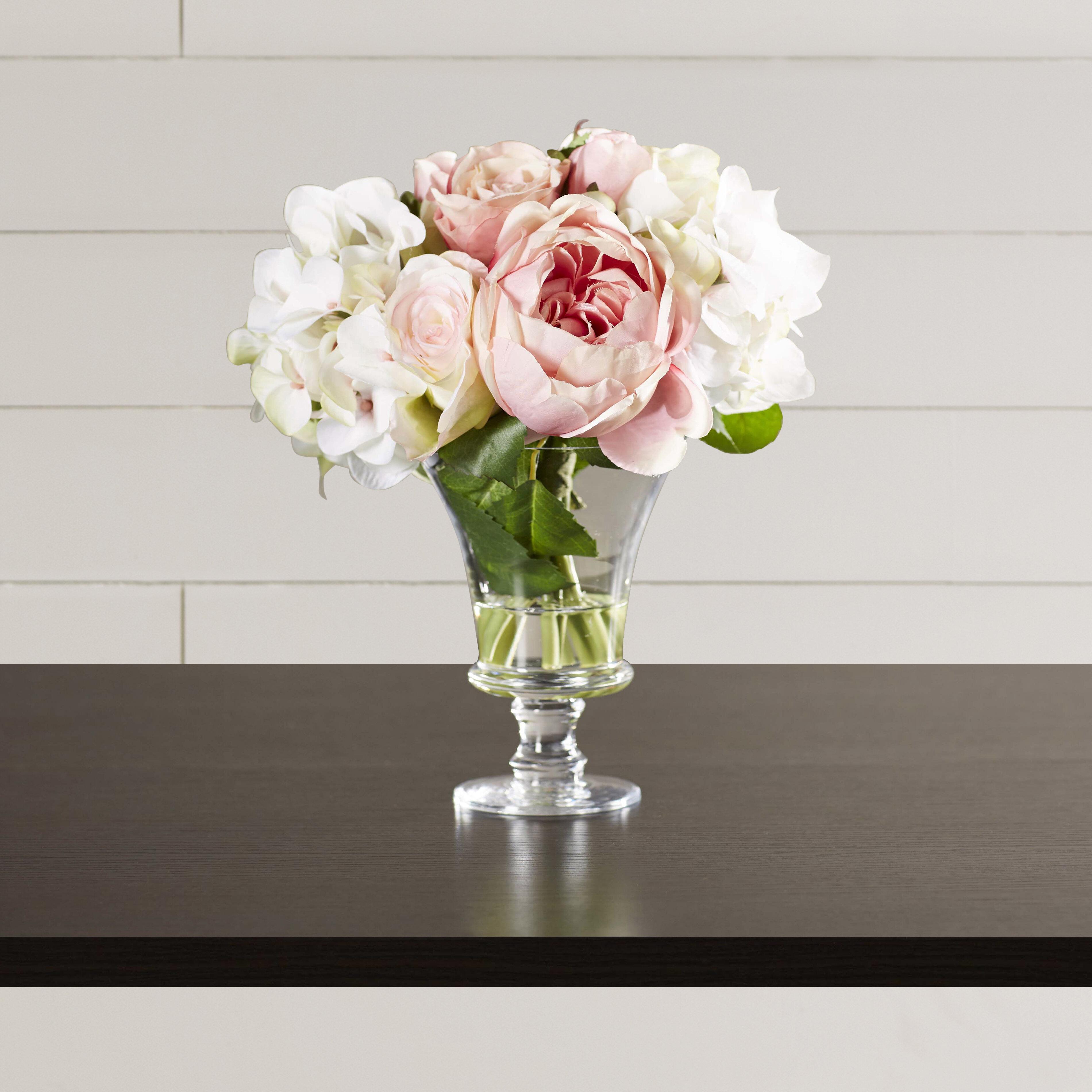 One Allium Way Faux Rose And Hydrangea Floral Arrangement In Pedestal Glass Vase Reviews Wayfair