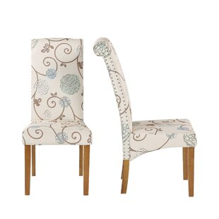 Upholstered Parsons Chair in White Set of 2