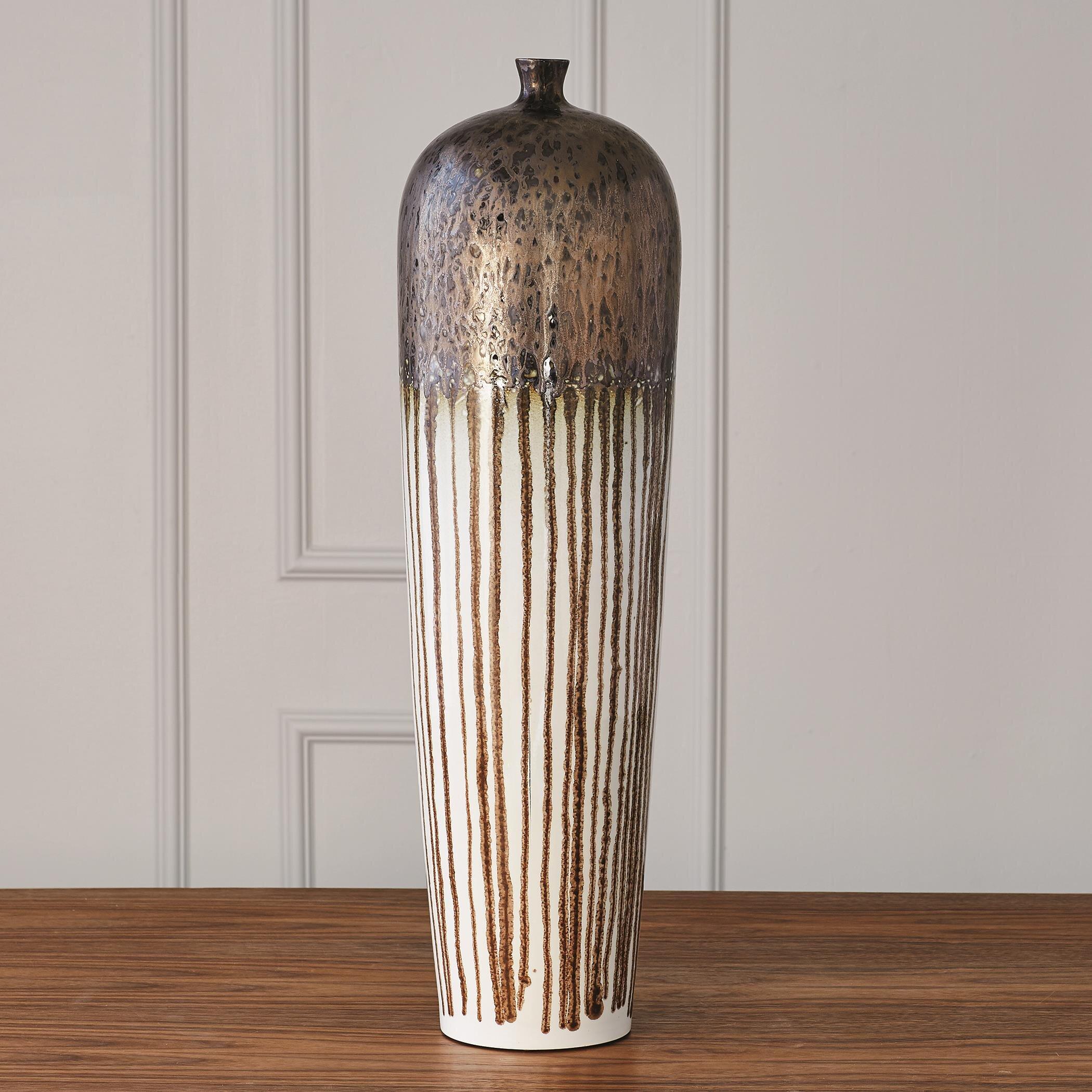Brown/White 20'' Porcelain Floor Vase
