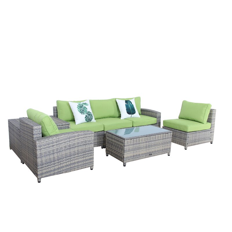 Ingrid 7 Piece Rattan Sofa Set With Cushions