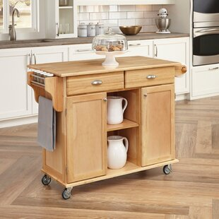 August Grove Lili Kitchen Island with Wood Top