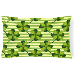 Fargo Watercolor Shamrock Stripes Indoor/Outdoor Throw Pillow
