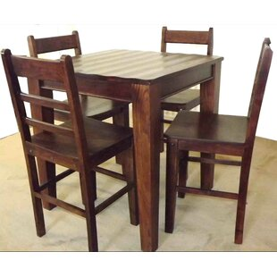 Wave 5 Piece Solid Wood Dining Set Aishni Home Furnishings