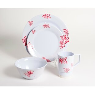 Decorated Coral Melamine 24 Piece Dinnerware Set, Service for 6