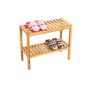 bamboo shoe storage bench with storage shelf