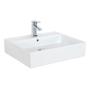 Inexpensive Simple Ceramic 24 Wall Mount Bathroom Sink with Overflow ByWS Bath Collections
