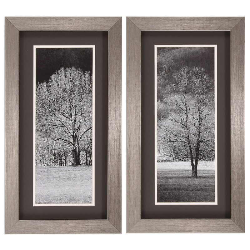 Three Posts Black And White Trees 2 Piece Framed Photographic Print