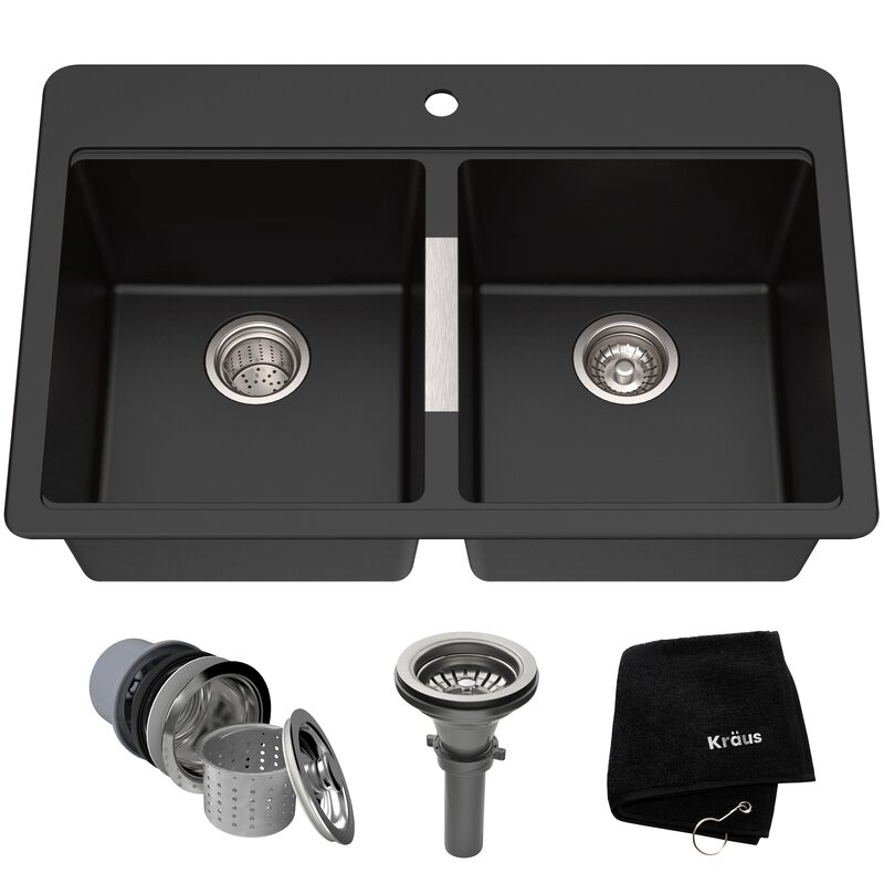 Granite 33 L X 22 W Double Basin Dual Mount Kitchen Sink