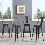 Ashlyn Solid Wood 30'' Bar Stool (Set of 4) by Williston Forge