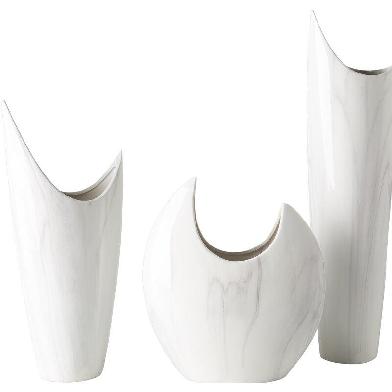3 Piece White Ceramic Table Vase Set