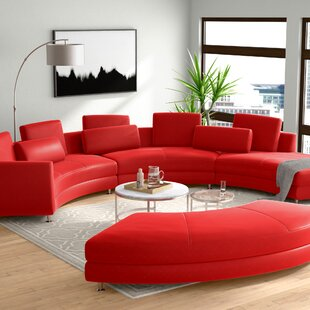 Manatuto Leather Right Hand Facing Modular Sectional with Ottoman by Orren Ellis