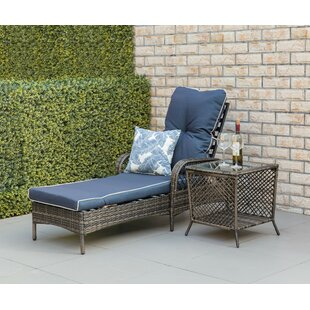 Richins Outdoor Chaise Lounge with Cushion and Table